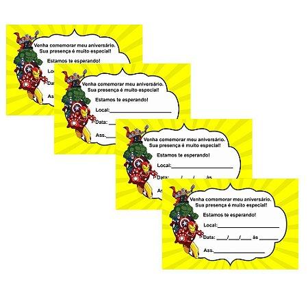 8 Convites Vingadores Desenho 10x15cm