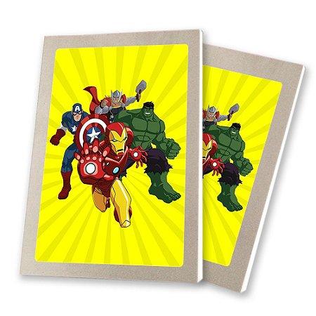 5 Bloquinhos de Papel 25 Folhas Vingadores Desenho 10,5x7,5cm