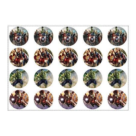 20 Adesivos Vingadores Redondo 4,7cm