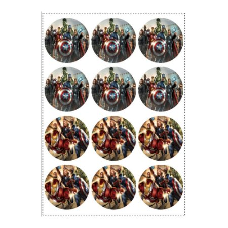 12 Adesivos Vingadores Redondo 6,5cm
