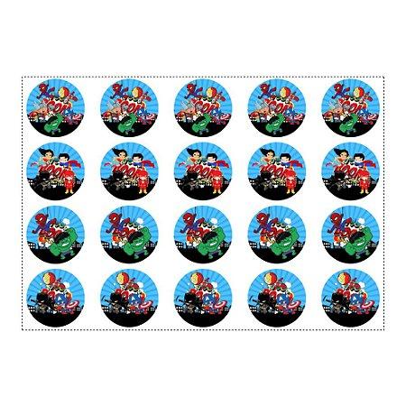 20 Adesivos Super Heróis Baby Redondo 4,7cm