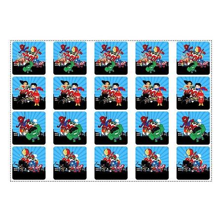 20 Adesivos Super Heróis Baby Quadrado 4,7cm