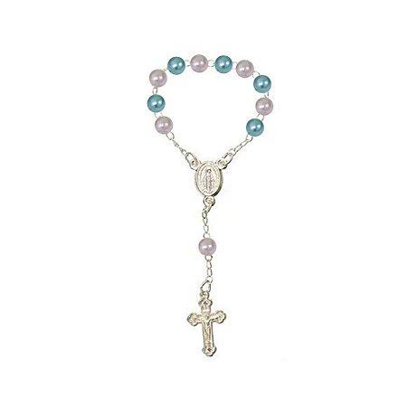10 Mini Terço Tercinho com Bolas Azul e Rosa para Batizado