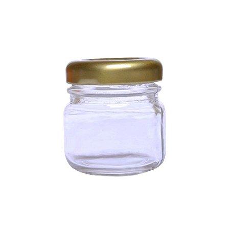 Pote de Papinha de Vidro Redondo 40ml Dourado - 10 Unidades