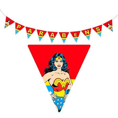 10 Bandeirolas Triangular Mulher Maravilha
