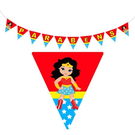 10 Bandeirolas Triangular Mulher Maravilha Baby
