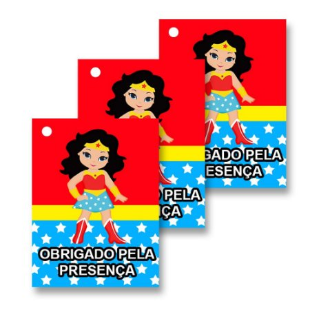 30 Tags Mulher Maravilha Baby 4x3cm