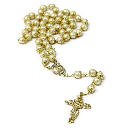 Terço de Noiva Pérola com Dourado nº 12 - 1 Unidade