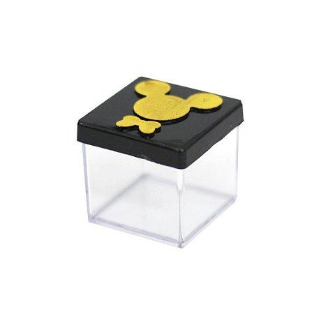 Caixinha Acrílica 4x4 Mickey Preto e Dourado - 10 Unidades