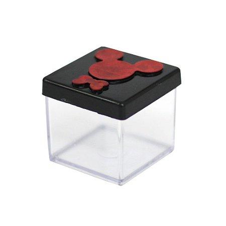 Caixinha Acrílica 4x4 Mickey Preto e Vermelho - 10 Unidades
