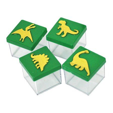 Caixinha Acrílica 4x4 Dinossauros Verde e Dourado - 8 Unidades
