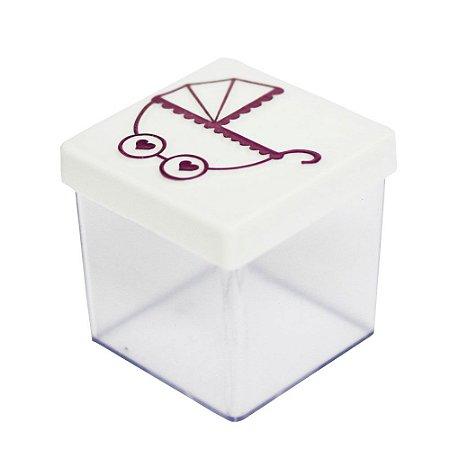 Caixinha Acrílica 5x5 Chá de Bebê Carrinho Branco e Rosa - 8 Unidades