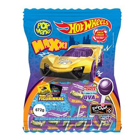 Pirulito Hot Wheels Maxxi Pop Mania Sabor Uva 672g com 24 Unidades