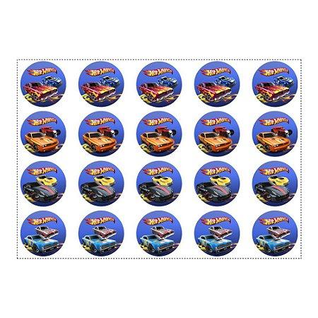 20 Adesivos Hot Wheels Redondo 4,7cm