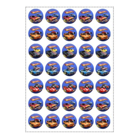 35 Adesivos Hot Wheels Redondo 3,5cm