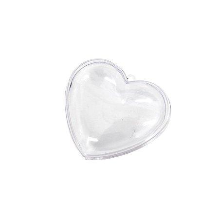 Coração Acrílico Transparente 6x5 - 8 Unidades