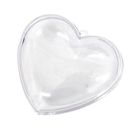 Coração Acrílico Transparente 10x9 - 3 Unidades