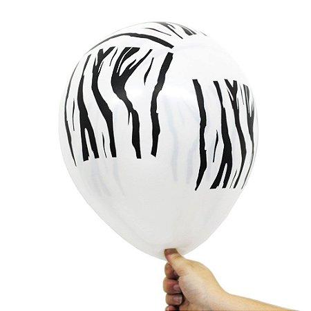Balão Bexiga Listras de Zebra Branco Nº 11 28cm - 25 Unidades