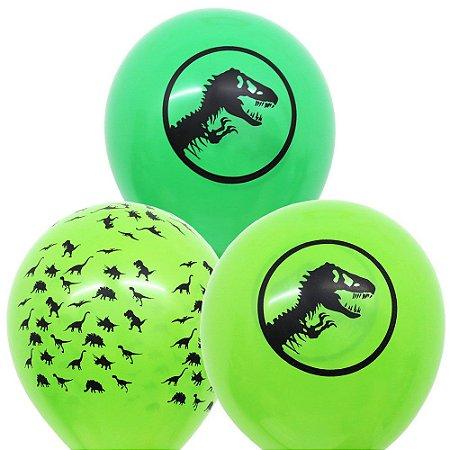 Balão Bexiga Dinossauros Verde Sortido Nº 11 28cm - 25 Unidades
