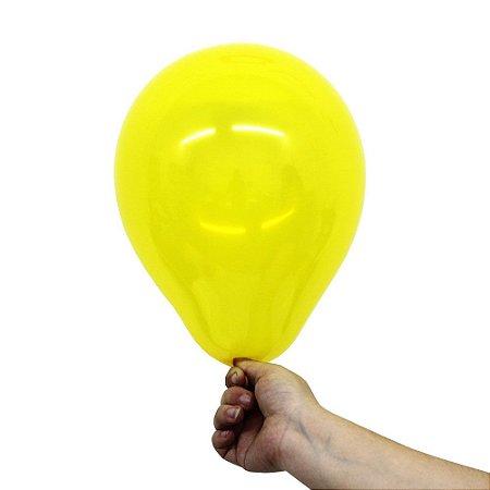 Balão Bexiga Translúcido Cristal Amarelo Citrino Nº 9 23cm - 30 Unidades