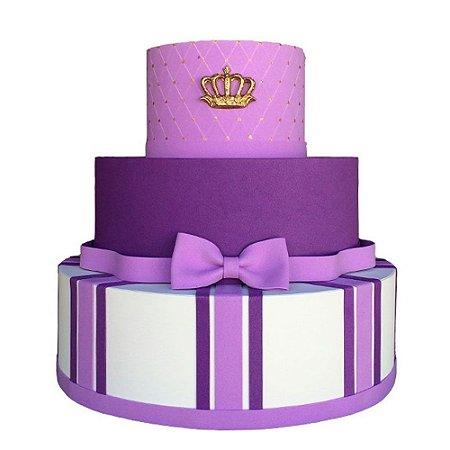 Bolo Fake Decorativo Princesa Lilás