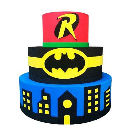 Bolo Fake Decorativo Batman e Robin
