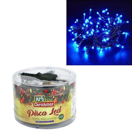 Pisca Pisca Led Azul 100 Lâmpadas Cabo Verde Musgo - 120v