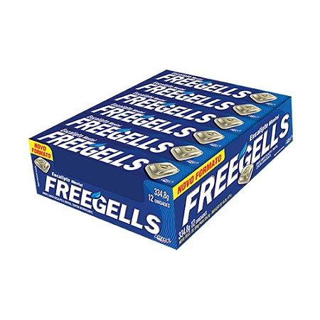 Caixa Bala Freegells Eucalipto Mentol com 12 Unidades