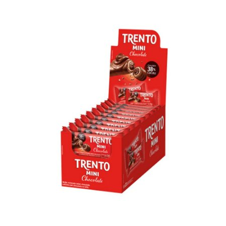 Caixa Chocolate Trento Mini Recheio Chocolate 16g com 20 Unidades