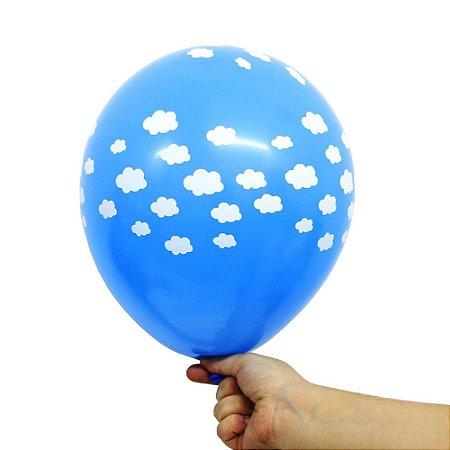 Balão Bexiga Festa Nuvens Azul Celeste Nº 11 28cm - 25 Unidades