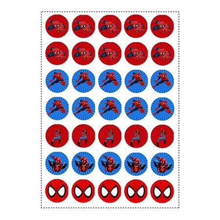35 Adesivos Homem Aranha Redondo 3,5cm