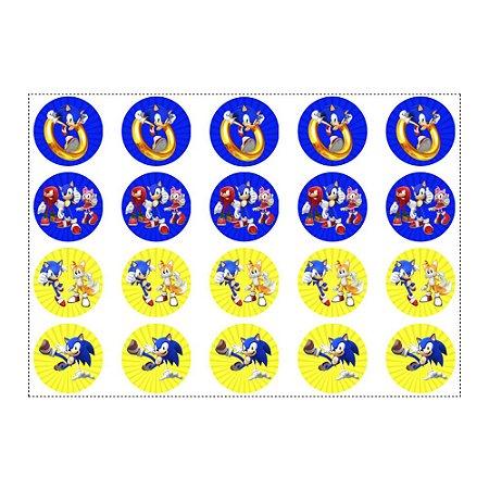 20 Adesivos Sonic Redondo 4,7cm