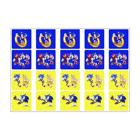 20 Adesivos Sonic Quadrado 4,7cm