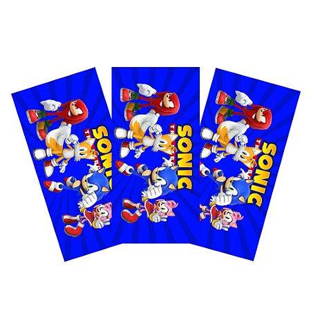 6 Adesivos Sonic Retangular 20x10cm