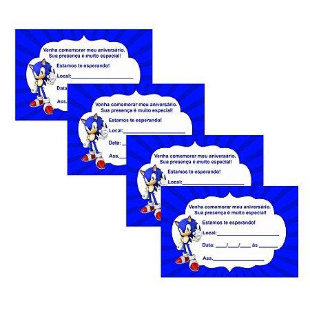 8 Convites Sonic 7x10cm
