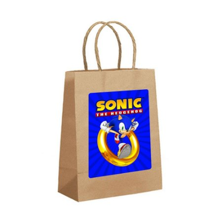 4 Sacolas de Papel Kraft Sonic Tamanho PP