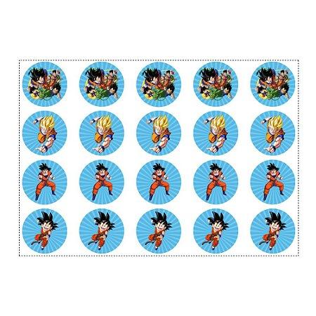 20 Adesivos Dragon Ball Redondo 4,7cm