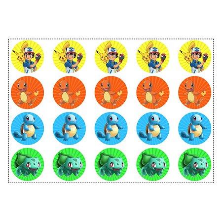 20 Adesivos Pokémon Redondo 4,7cm