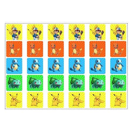 30 Adesivos Pokémon Quadrado 3,7cm