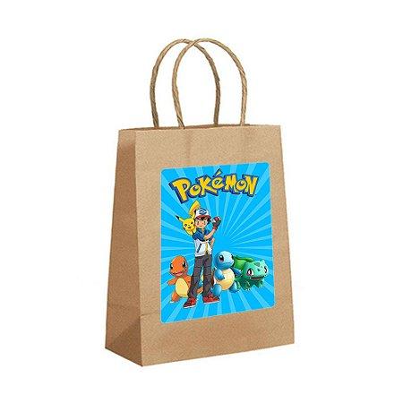 4 Sacolas de Papel Kraft Pokémon Tamanho PP