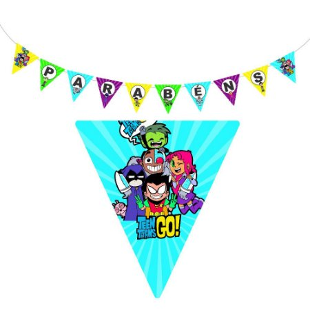 10 Bandeirolas Triangular Teen Titans