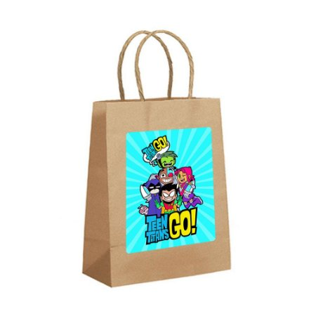 4 Sacolas de Papel Kraft Teen Titans Tamanho PP