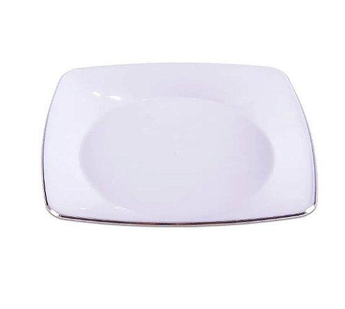 Prato Refeição Luxo Quadrado Requinte Branco com Prata - Prafesta - 5 unidades