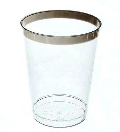 Copo Luxo Requinte cristal com Borda Prata 200ml - Prafesta - 10 unidades