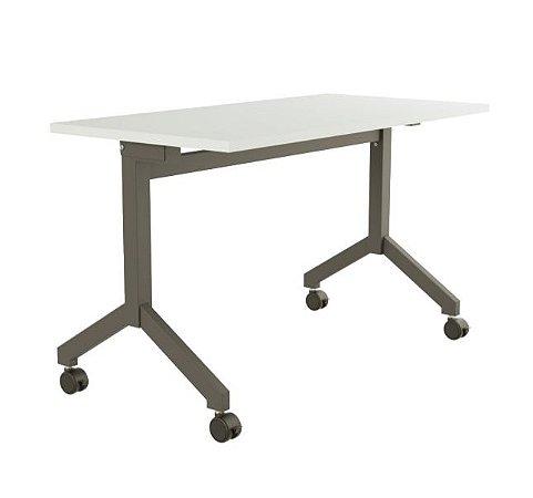 Mesa para Escritorio Dobravel Rebativel Home Office Reta 1,60 X 0,60 M 25 Mm Escrivaninha Rodinhas