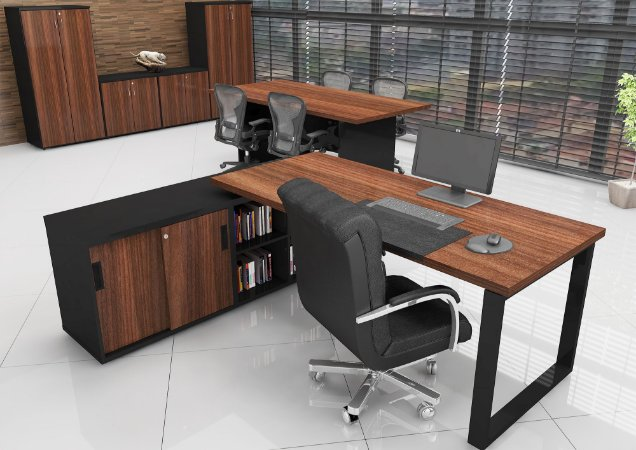 Mesa Em L Diretiva Executiva 36 Mm 1,60 x 1,60 M Home Office