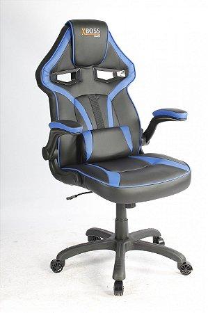 Cadeira Gamer Home Office Braços Articulaveis X Boss Preto Azul