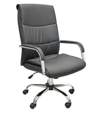 Cadeira Escritório Giratória Diretor Braços Cromada Preto Home Office