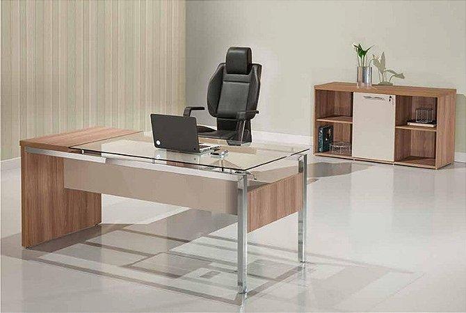 Mesa Escritório Reta Diretoria Vidro Incolor 1,80 X 0,75 M Home Office