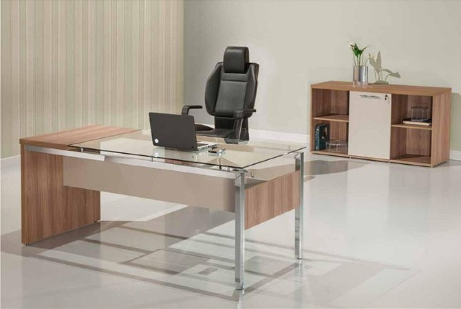 Mesa Diretoria Vidro Incolor 1,50 M Mdp 38 Mm Aço Cromado Home Office